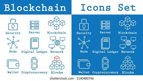 Two minimalistic blockchain icons set