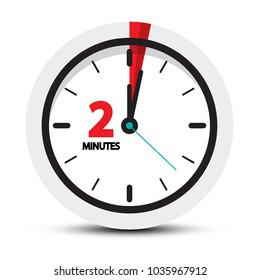 Two Minutes Clock Symbol. Vector 2 Minute Vector Icon.