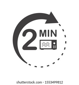 Two minutes icon. Cook in microwave sign. Heat 2 minutes.
