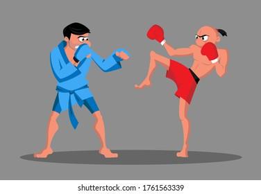 Zwei gemischte Kampfsportkämpfer
