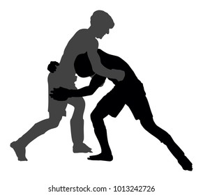 Two mma fighters vector silhouette illustration isolated on white background. Mixed martial arts battle. Wrestling, boxing, judo, karate and other skills. Self defense concept.