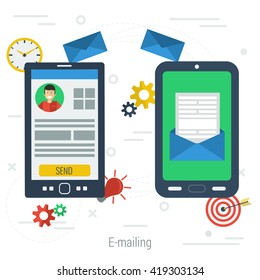 Two mobile phone connected with e-mail. Vector concept of communication and business dealing. One smartphone with personal account and other with received letter in flat style