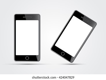 two mobile phones on a white background