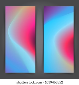Two modern abstract colorful posters design. Smooth mild swoosh wave gradient blend graphic background layout. Vector illustration