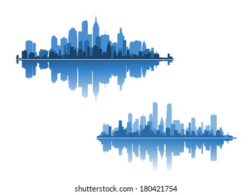 Two modern city skylines for business concepts