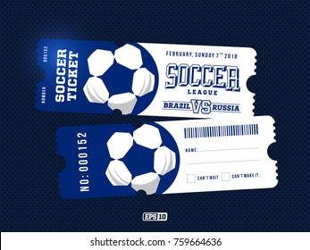 two modern professional design of football tickets in blue theme.