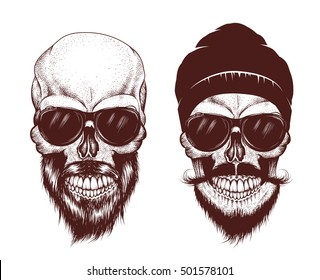 Two modern skull with sunglasses. Hand drawn vector illustration