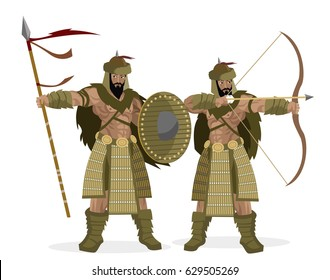 two mongol warriors with spear and bow