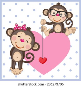 Two Monkeys on a background of heart