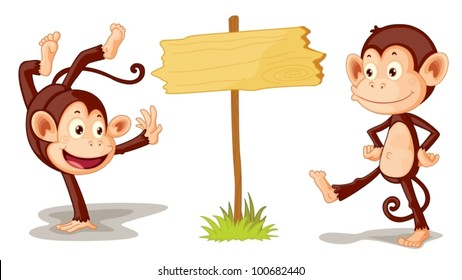 Two monkeys with sign illustration