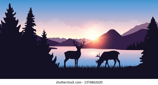 two moose graze by the river in the forest at sunrise vector illustration EPS10