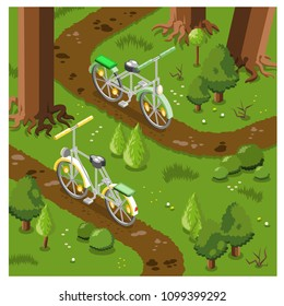 Two mountain bikes on offroad tracks in forest (vector illustration, isometric)
