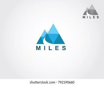 Two Mountain With Road And Letter M Logo Sign Symbol Icon