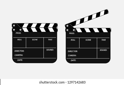 Two movie clappers open and close isolated on white background. 3d realistic movie clapperboard. Black cinema slate board view close up, for filmmaking and video production. Film industry equipment