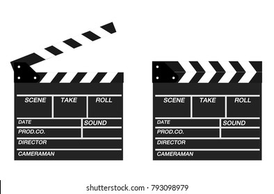 Two movie clappers open and close isolated on white background. Shown slate board.Realistic movie clapperboard. Clapper board isolated with clipping path included. image for object and illustration