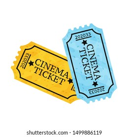 Two movie tickets. Vector illustration on a white background.