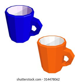Two mug isolated on white background. Low poly style. Vector illustration.