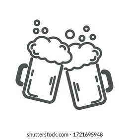 Two mugs of beer. Vector, illustration