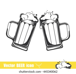 Two Mugs of beer. Vector illustration isolated on white background.