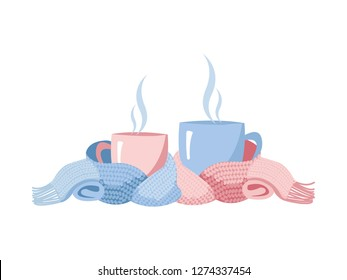 Two mugs in scarf. Cozy composition of 2 cups in blue nad pink color. Mugs, wrapped in a knitted warm scarf. warming atmosphere for coffe and tea party. Flat cartoon illustration on white background