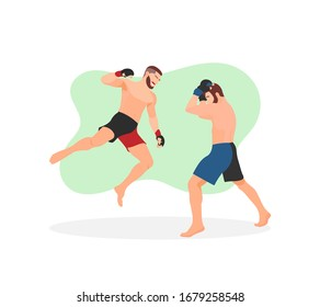 Two muscular men or guys having MMA match competition. Fighters battle. Professional fight. Man jumping and giving a superman punch. Aggressive attack sign or icon - Flat design vector illustration.