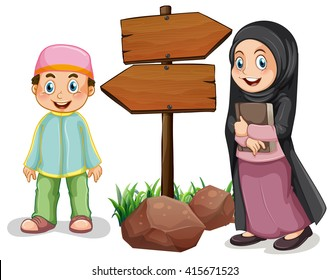 Two muslim kids and wooden signs illustration