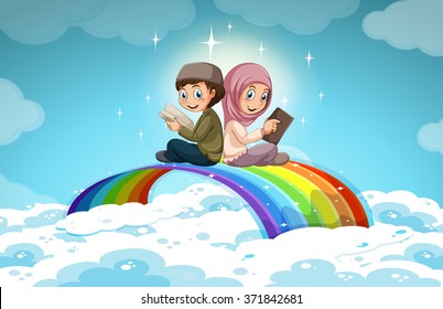 Two muslim reading books over the rainbow illustration