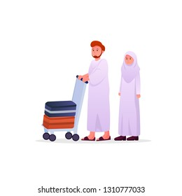 Two Muslims Wearing Ihram, Hajj Pilgrimage Dress Man and Woman Couple Vector Cartoon Illustration