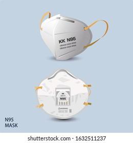 Two N95 medical mask illustrations