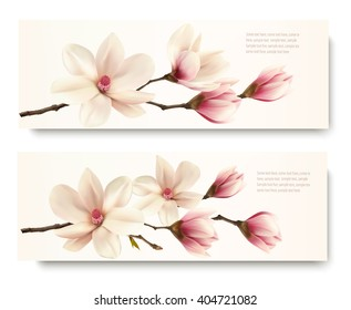 Two nature flower magnolia banners. Vector.