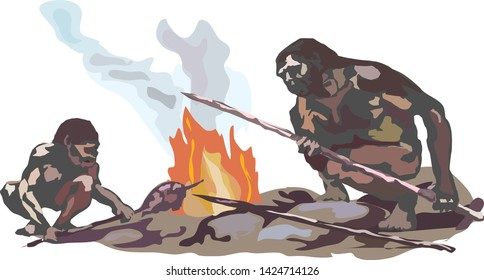 Two Neanderthals. Two cavemen are sitting on stones by the smoking fire holding spears in their hands.