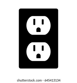 Two NEMA 5-15 grounded power outlet / ac socket flat vector icon for apps and websites