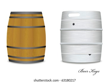 Two new and old beer kegs with wood and metal version