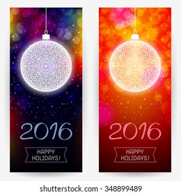 Two New Year's backgrounds in multicolor dark and bright red colors with decorative balls and greeting text for holidays 2016. Vertical banners
