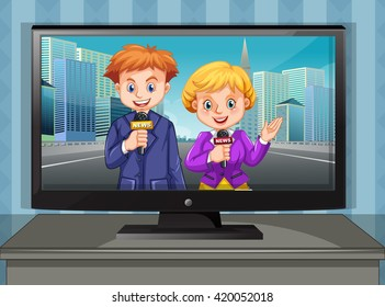 Two news reporters on television illustration