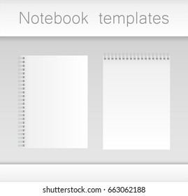 Two notebook templates on gray background. Illustration Vector