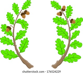 two oak branches