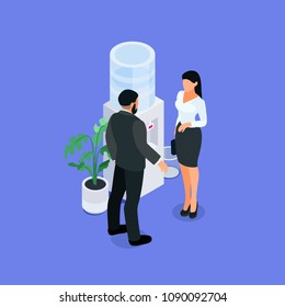Two office employees. Isometric concept of office life. Office workers are talking near the cooler. 3d man and woman in business suits.Vector illustration.