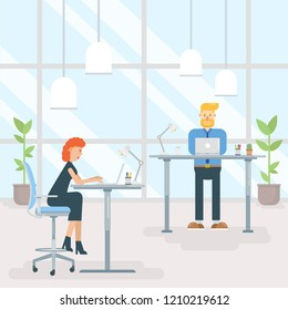 Two office employees work on laptop computers behind innovative ergonomic sit stand desks in bright modern workplace. Cartoon vector illustration.