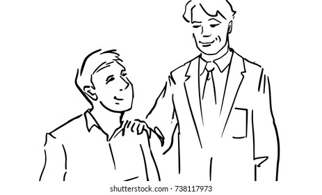 Two office men black and white vector sketch. One man in business suit stands near the sitting man. He puts his hand on shoulder of sitting man.Approval of superiors simple drawing at white background