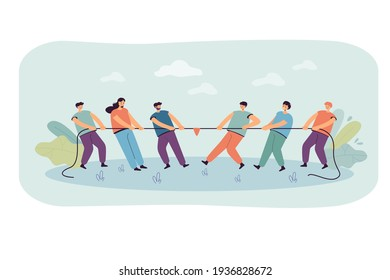Two office teams of people pulling rope isolated flat vector illustration. Cartoon strong characters playing game and competing in contest. Confrontation, competition and challenge concept