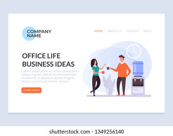 Two office workers people businessman characters drinking coffee and talking. Office life and business ideas graphic design banner poster web page concept illustration