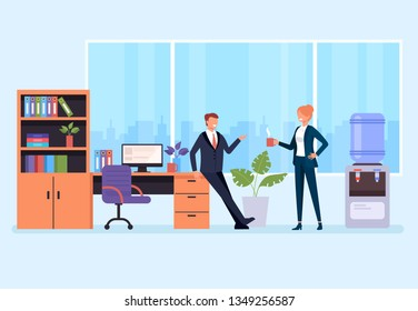 Two office workers people businessman characters drinking coffee and talking. Office life and business ideas situation concept. Vector flat graphic design cartoon isolated illustration