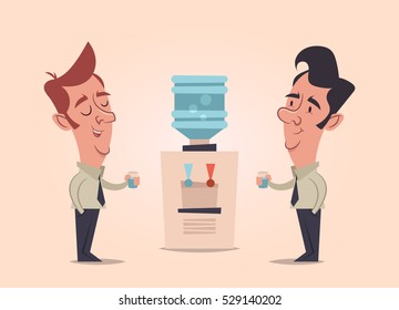 Two Office Workers Talking and Drinking Water. Vector Illustration
