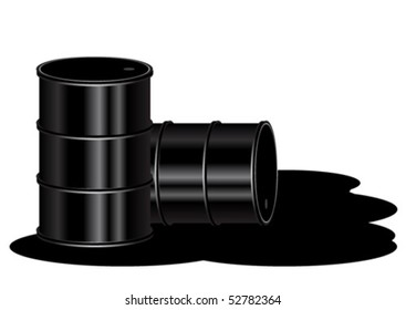 Two oil barrels over oil spill isolated in white