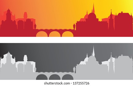 Two old city background, red and gray vector