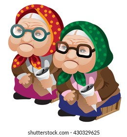 Two old ladies with sunflower seeds. Vector illustration.