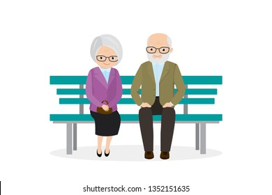 Two old people are sitting on bench,cute elderly couple,aged male and female characters isolated on white background,flat vector illustration