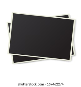 Two old photo frames isolated on white background