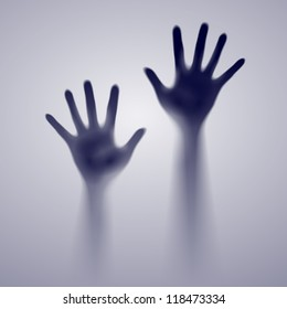 Two open hands in the gray mist. Illustration of designer